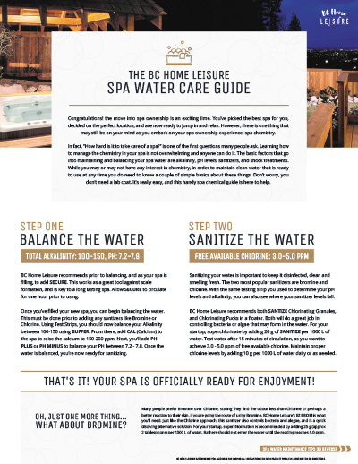 BC Home Leisure Langley Hot Tub Water Care Guide