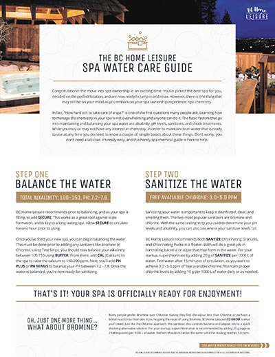 Beachcomber Hot Tub Langley Water Care Guide